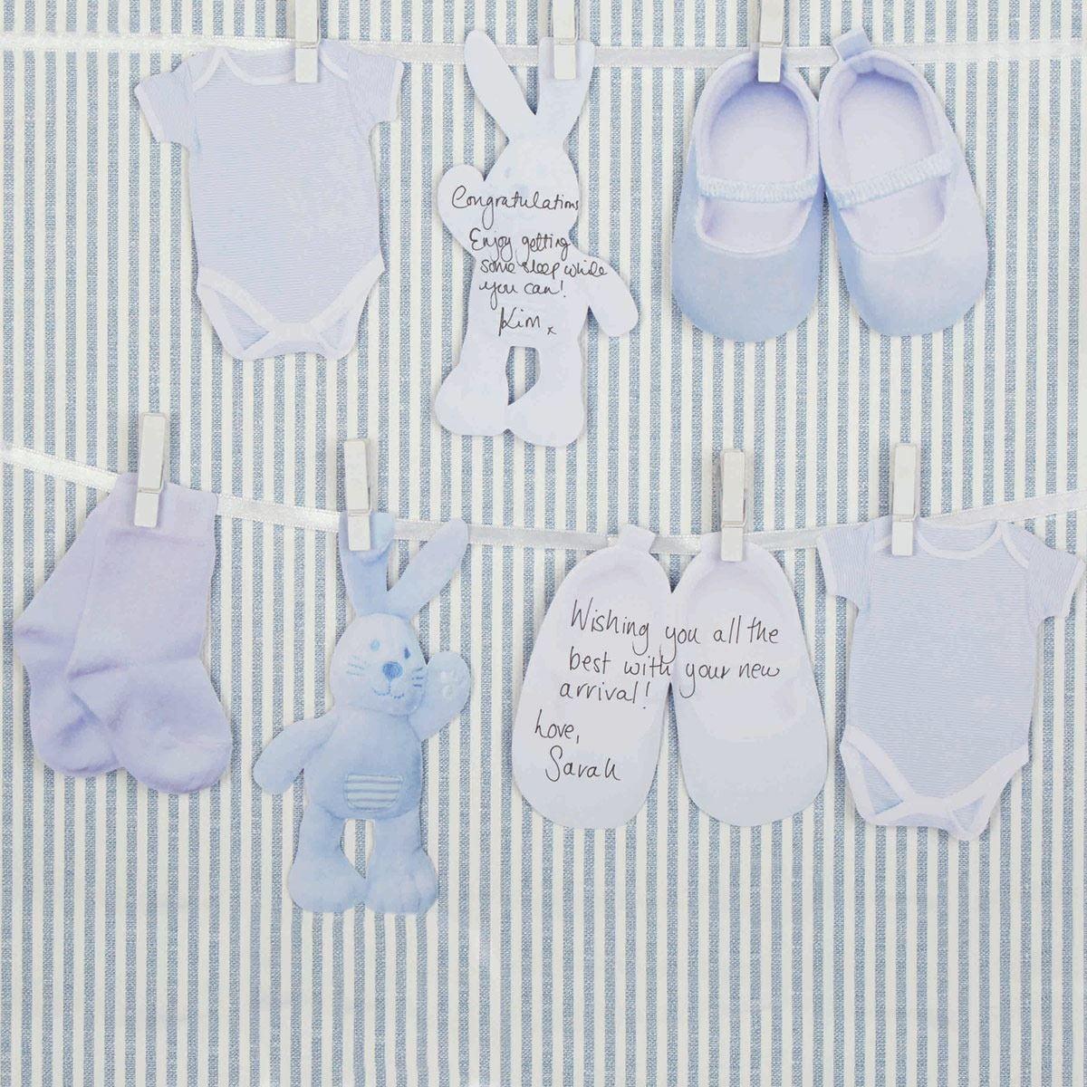 Guirnalda ropa Baby shower azul