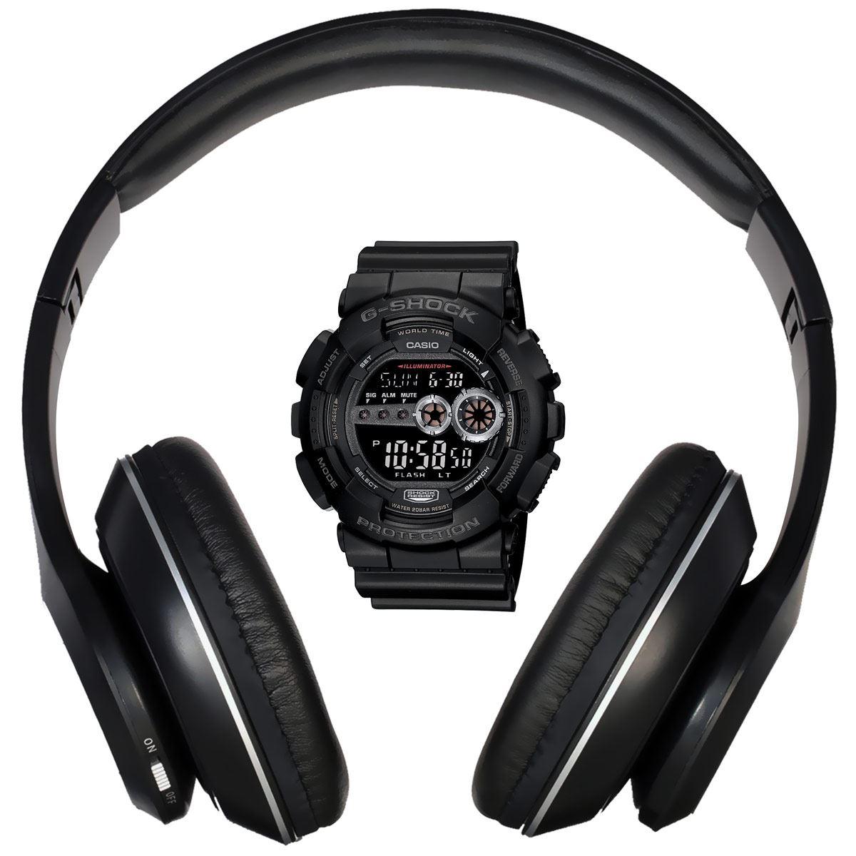 Set Reloj y Audífonos Mod. GD-100-1BBTS Caballero G-Shock