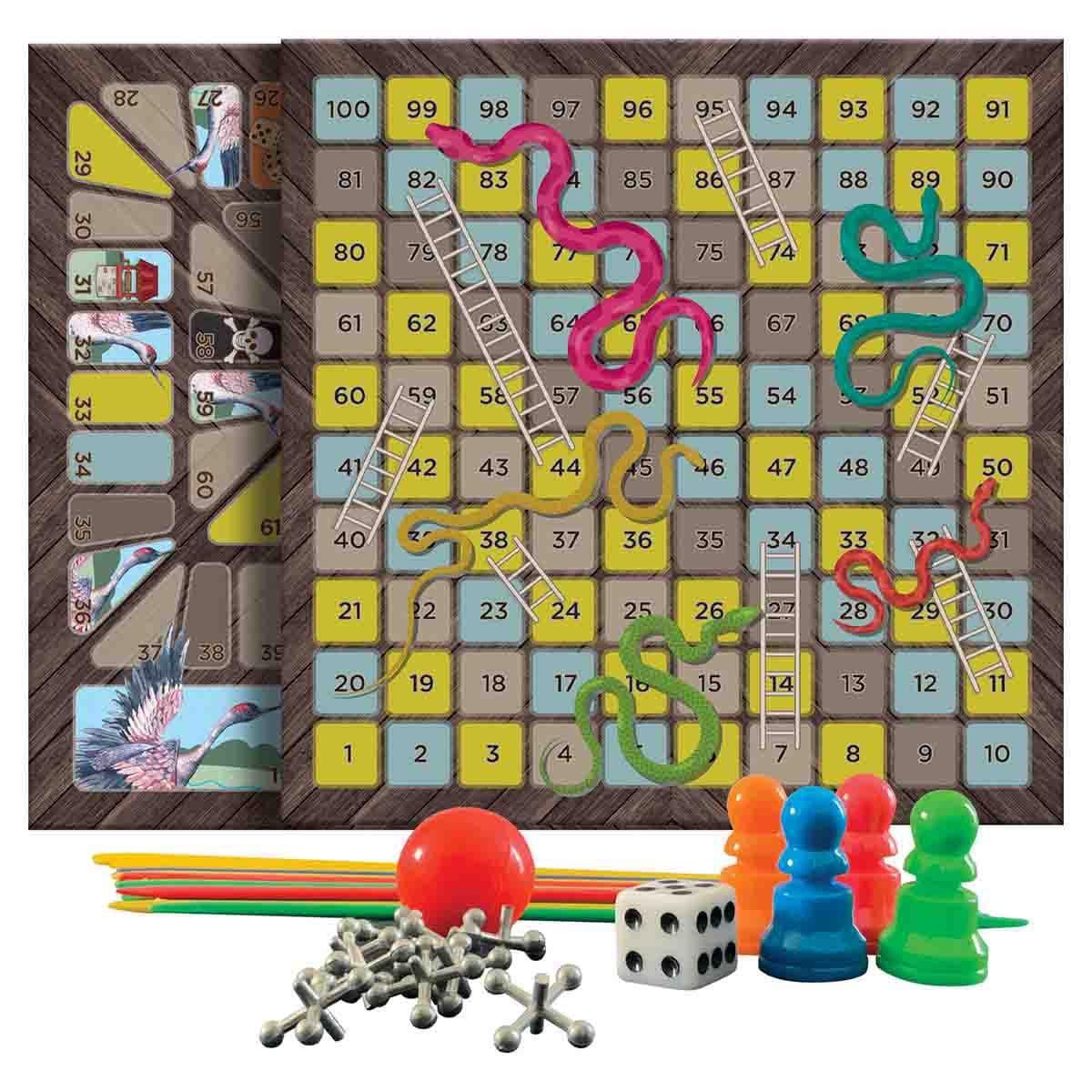 Set infantil foil serpientes y escaleras, juego de la oca y palillos chinos