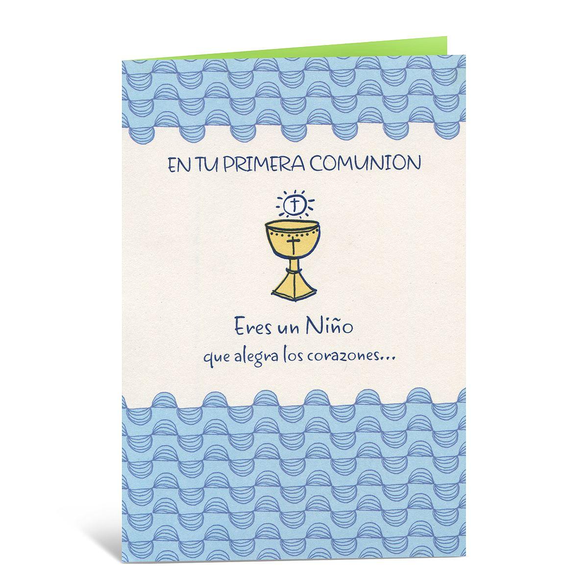b6ce571cab4b5 Tarjeta primera comunion niño caliz dorado