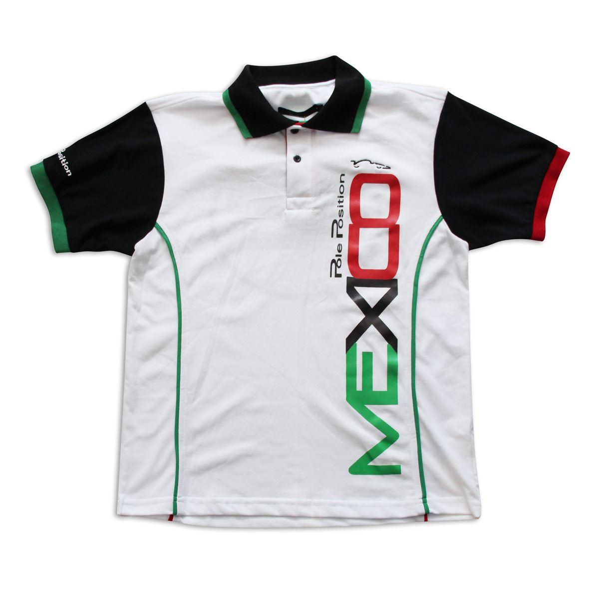 Playera Polo Pole Position México blanca mediana