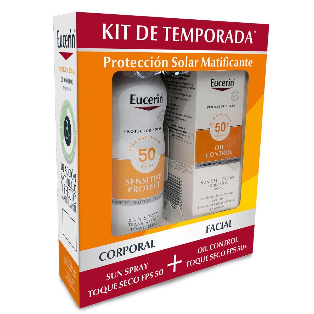 Kit protector solar matificante Eucerin (Oil Control + Aerosol toque seco)