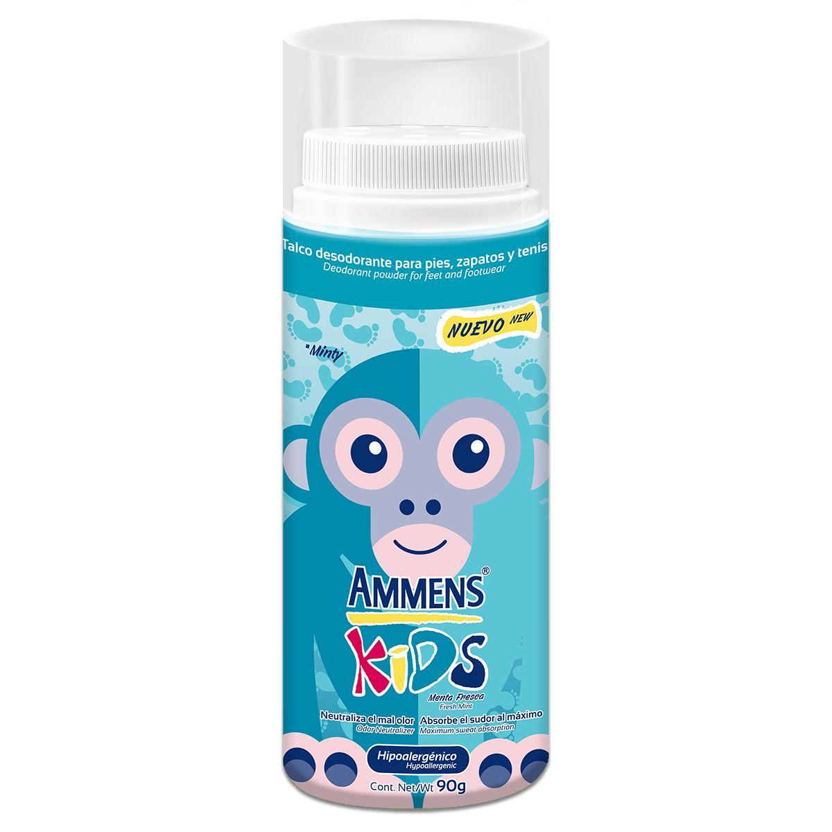 Talco Desodorante Para Pies Ammens Kids Menta Fresca 90gr