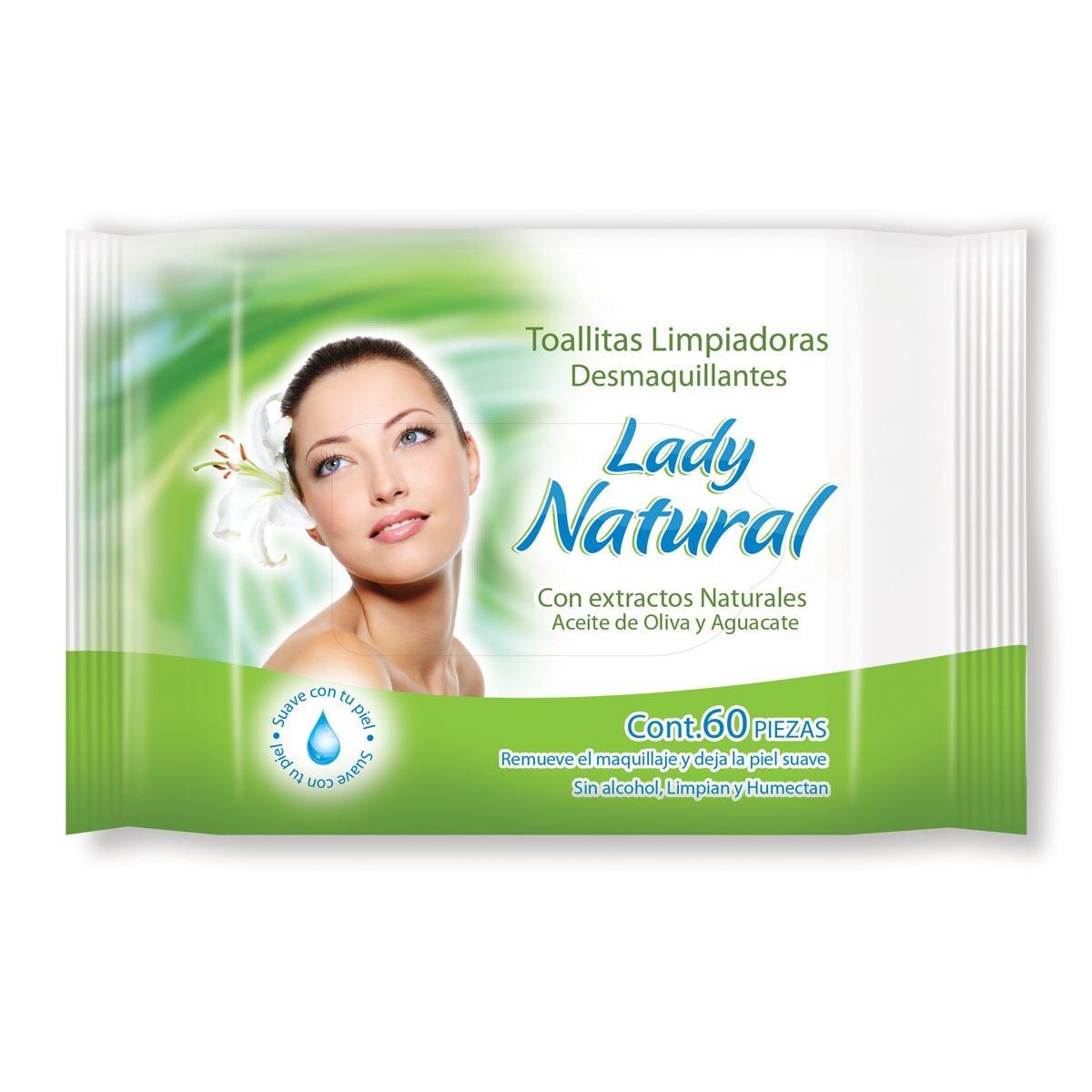 Toallas Limpiadoras Desmaquillantes Pepino Lady Natural 60 piezas