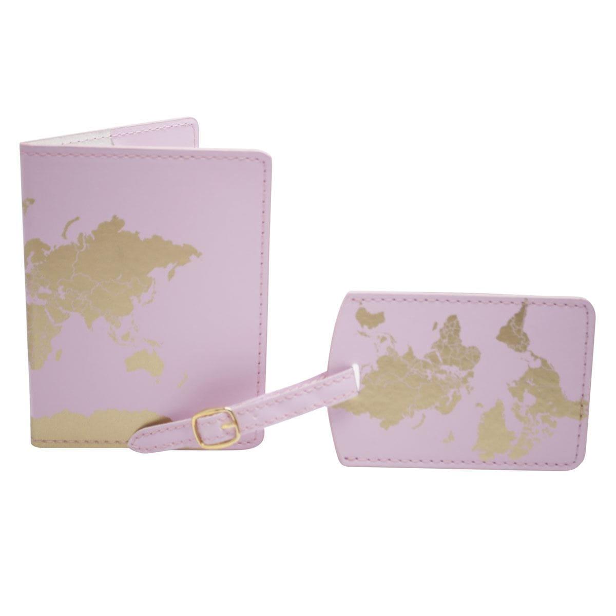 Set pasaporte y etiqueta de viaje rosa Art Home