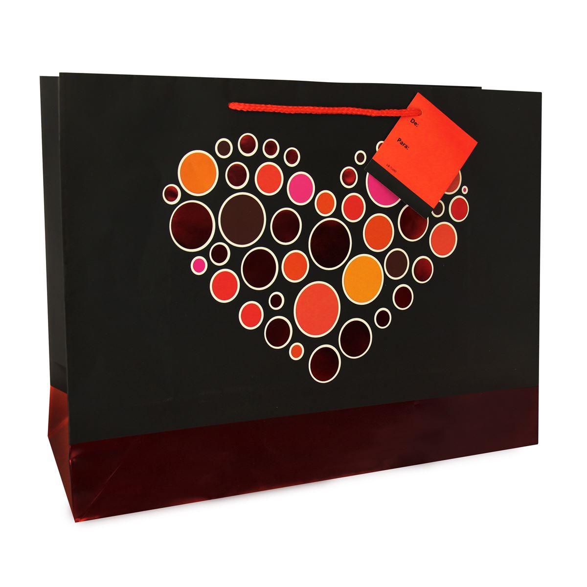 Bolsa de regalo corazón plástico. Tarjetas y mensajes