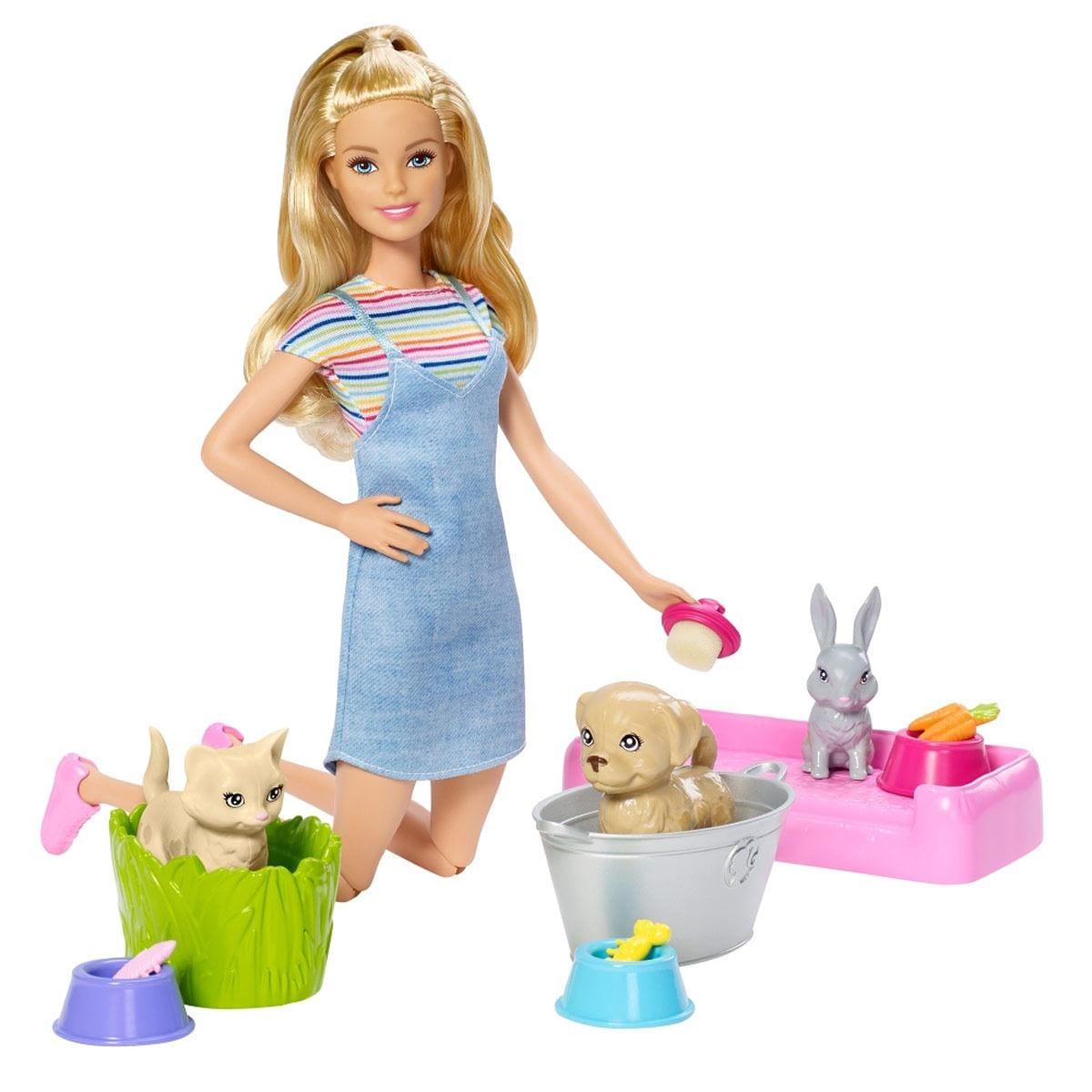 Barbie Familia Baño de Perritos