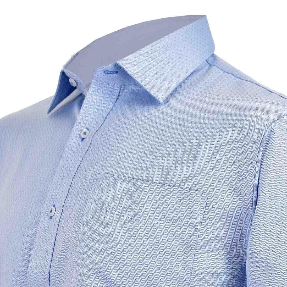 Camisa de Vestir Manga Larga Azul Combinado Nina Ricci