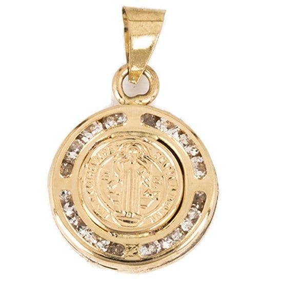 Medalla San Benito Relieve Circonias Sini