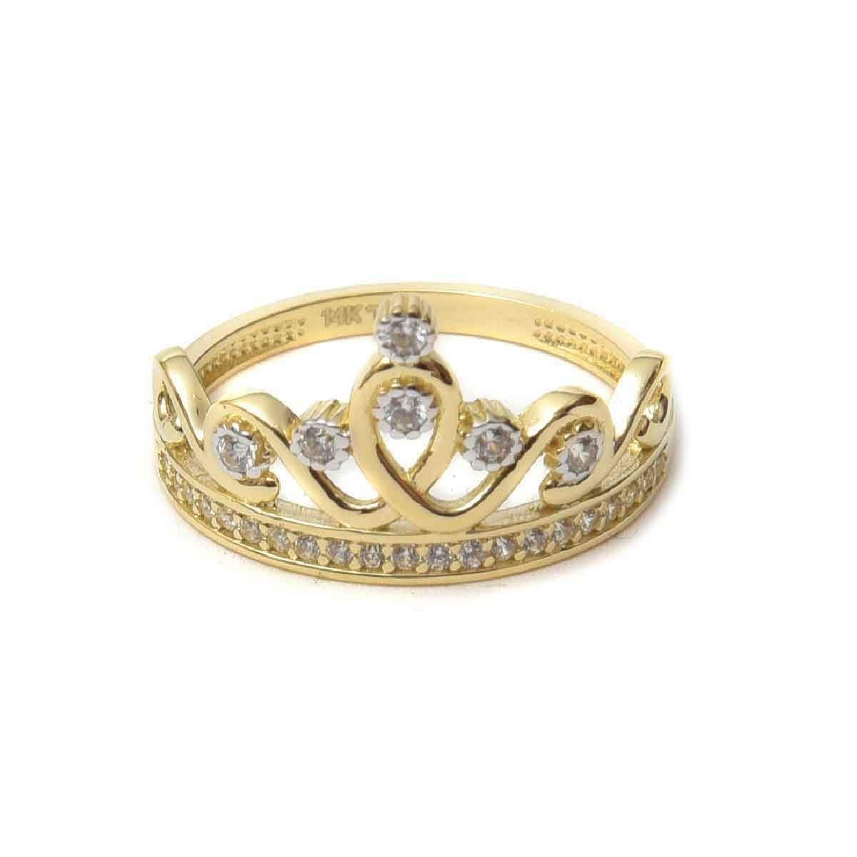 Anillo Corona Reina con Circonias Doble o