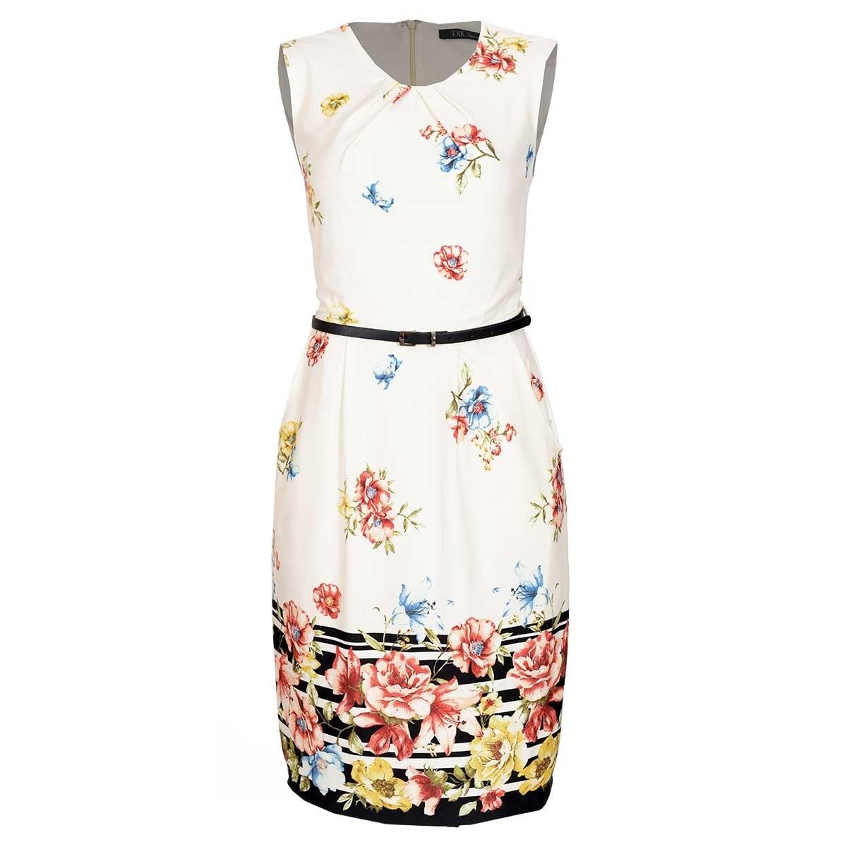 a2a0c76fd8 Vestido estampada en flores d crepe duo woman