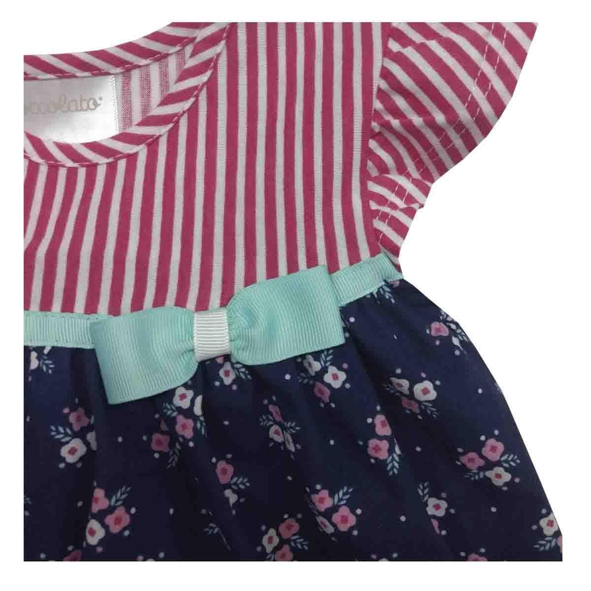 Vestido Rayas con Estampado Floral Coccolato