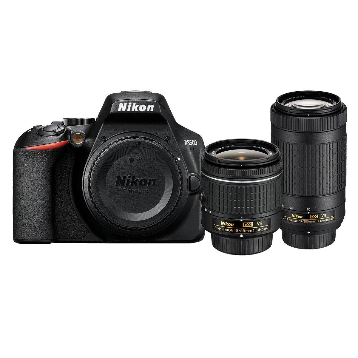 Cámara Nikon 24Mp 18-55/70-300Mm Dx D3500 B