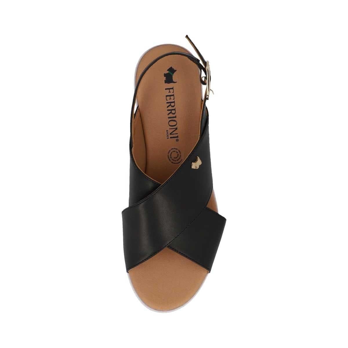 Sandalia Negra de Tiras Cruzadas Ferrioni