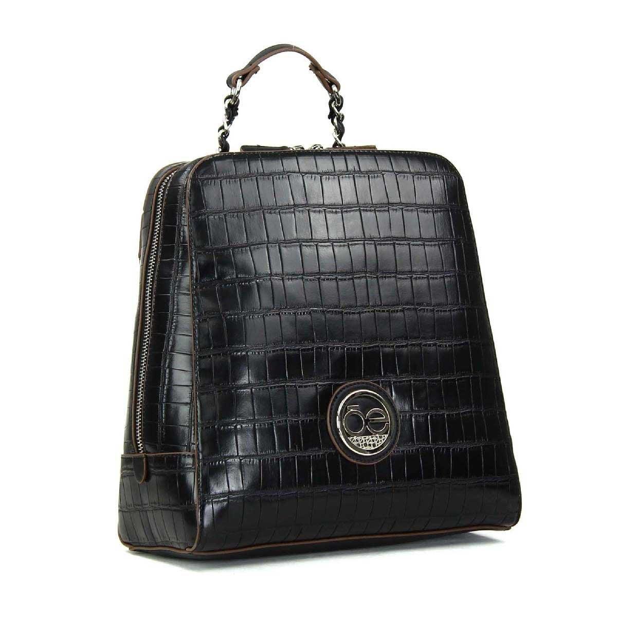 Backpack Negra en Material con Textura de Cocodrilo Cloe