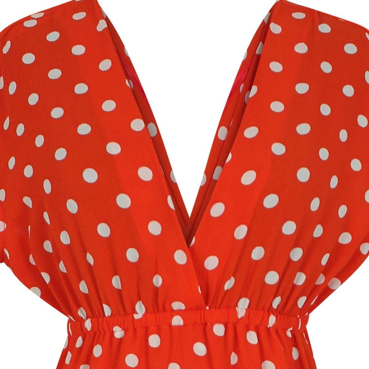 033f9b0245c0 Vestido naranja sin manga escote v estampado lunares elle