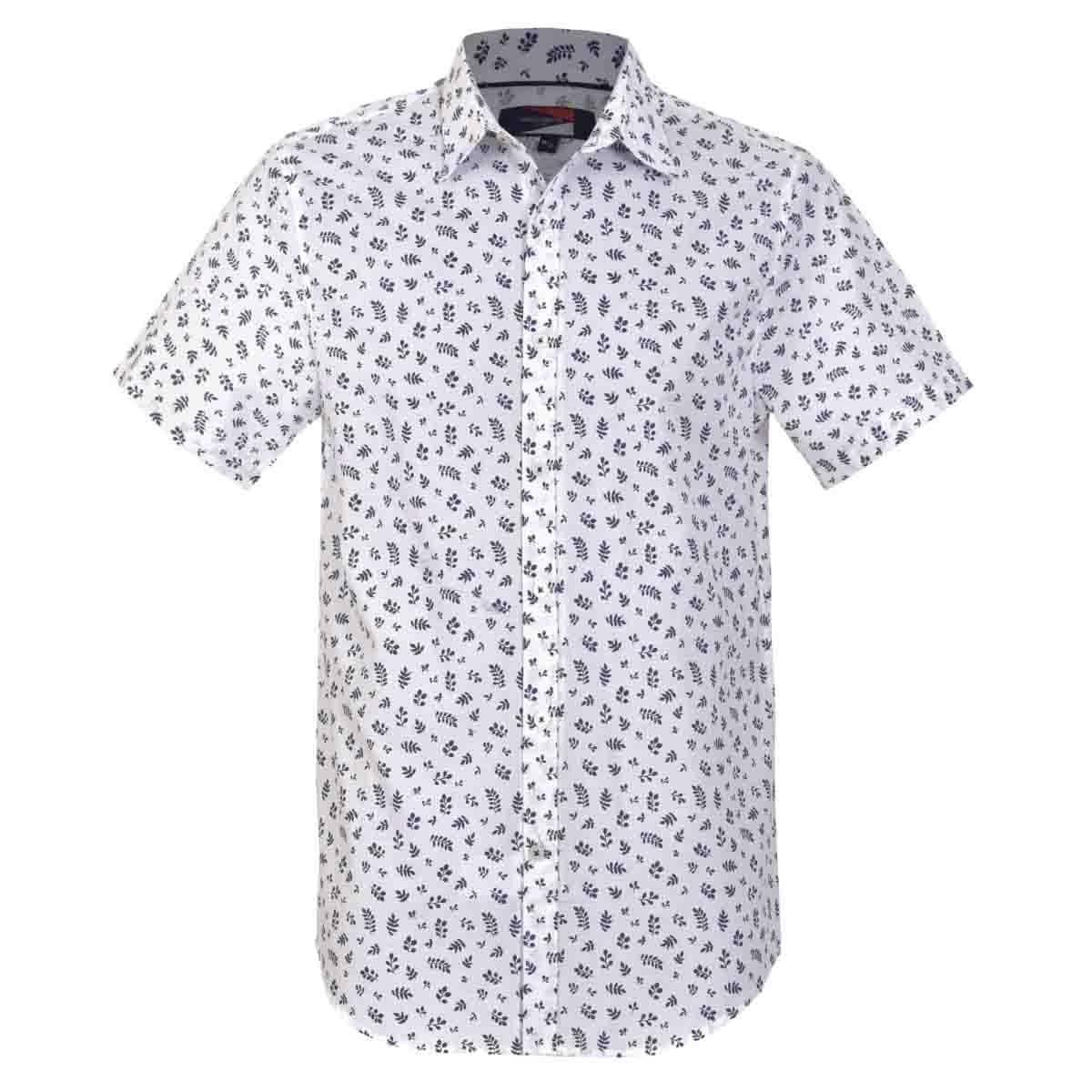 Camisa Manga Corta Casual Esmpada Blanca Carlo Corinto