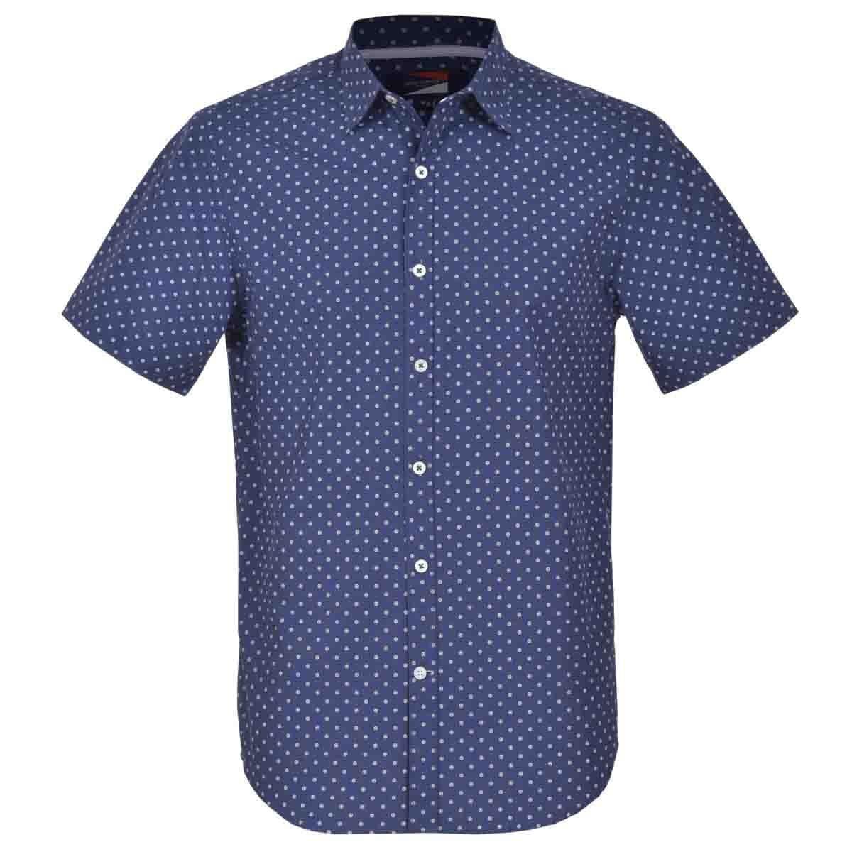 Camisa Manga Corta Casual Esmpada Azul Carlo Corinto
