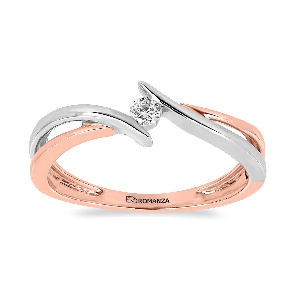Solitario 14K y Diamante Romanza