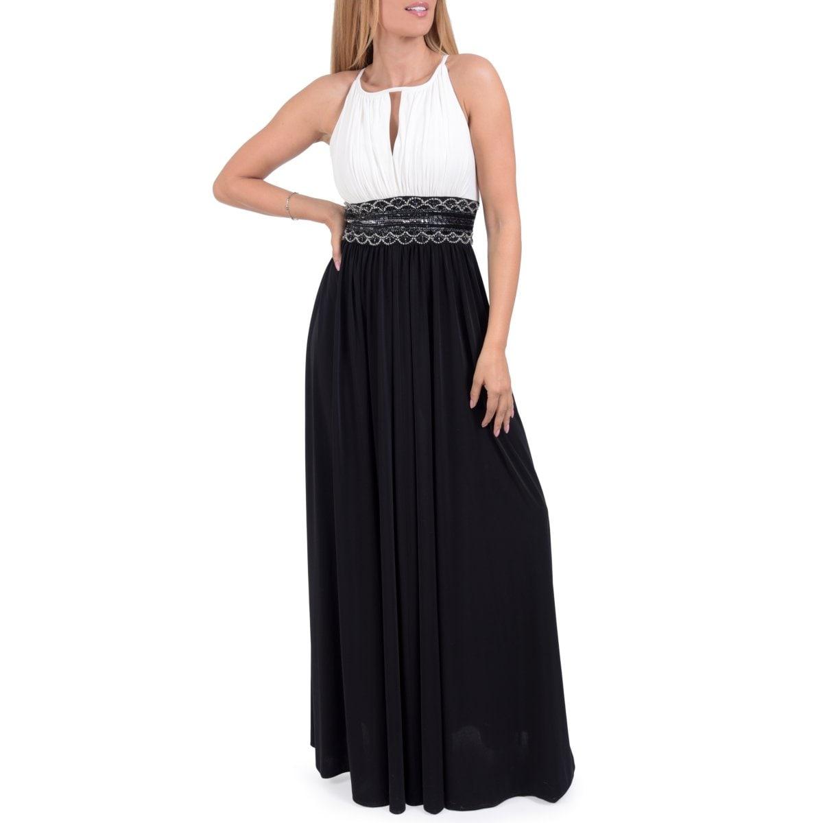 Vestido De Fiesta Largo Bicolor Fajilla Bordada Nikki Italy