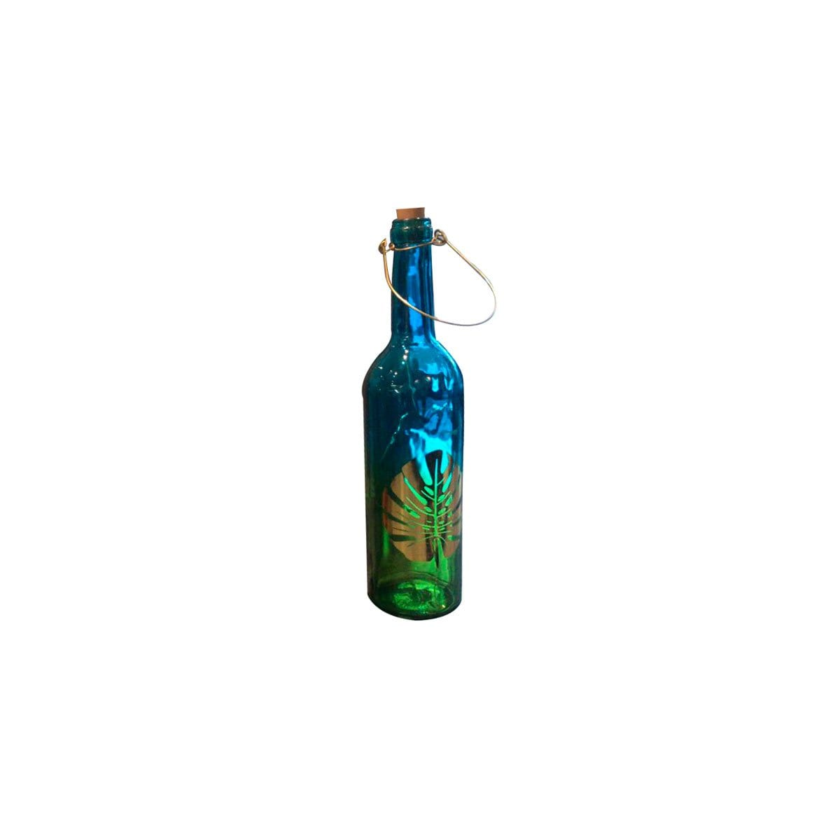 Home Nature Botella Larga Decorativa de Vidrio Color Azul ...
