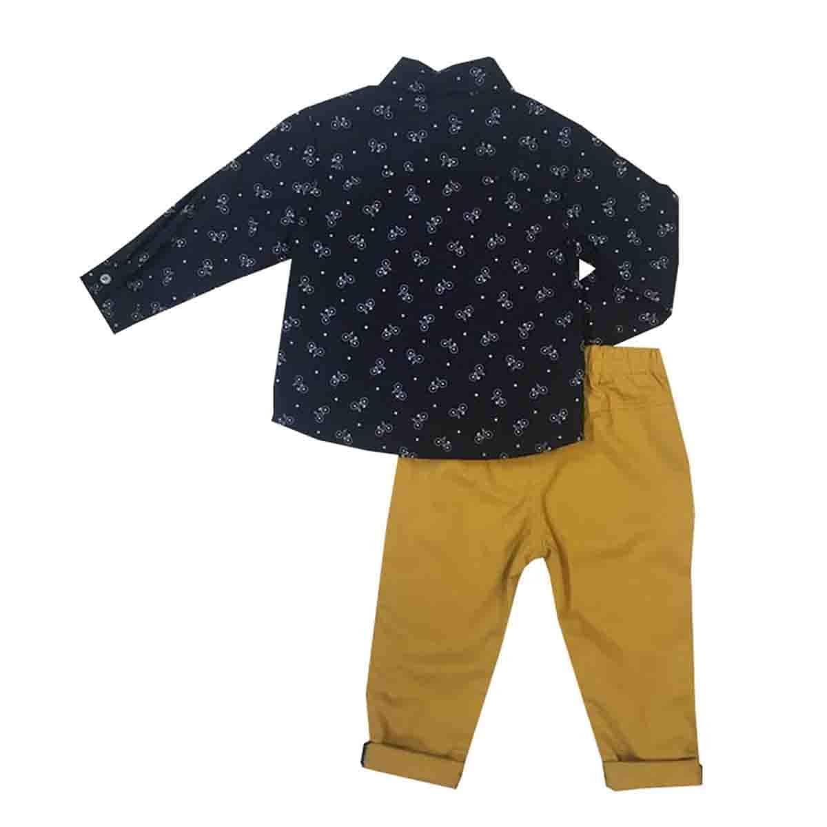 Conjunto Camisa con Moño Y Pantalón Mostaza Coccolato