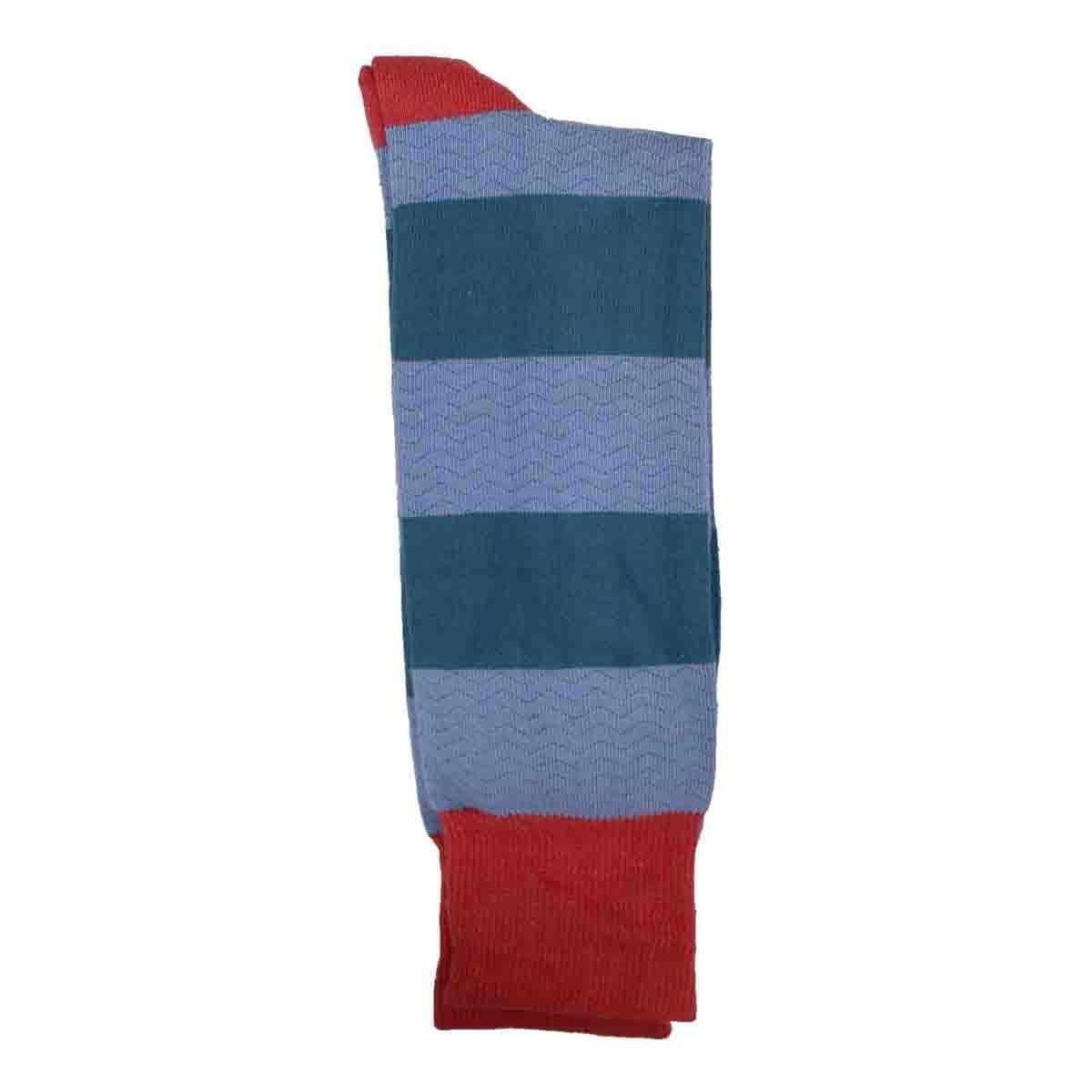 Calcetín de Vestir para Caballero Color Café con Rayas Multicolor Pierre Cardin