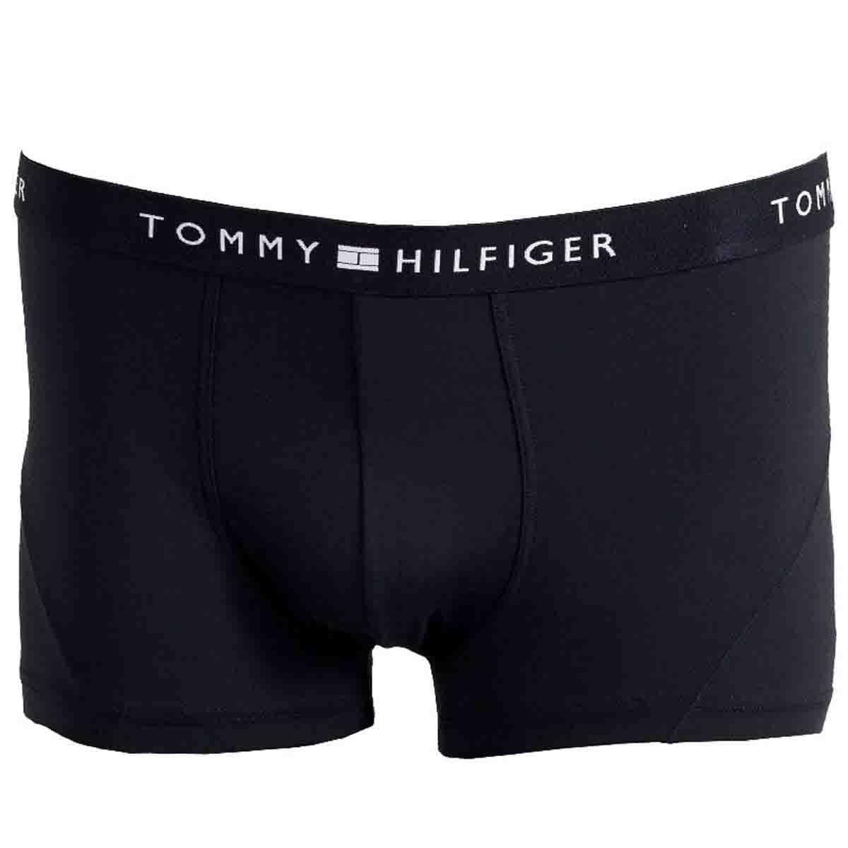 Bóxer Corto Color Negro con Elástico Expuesto Tommy Hilfiger