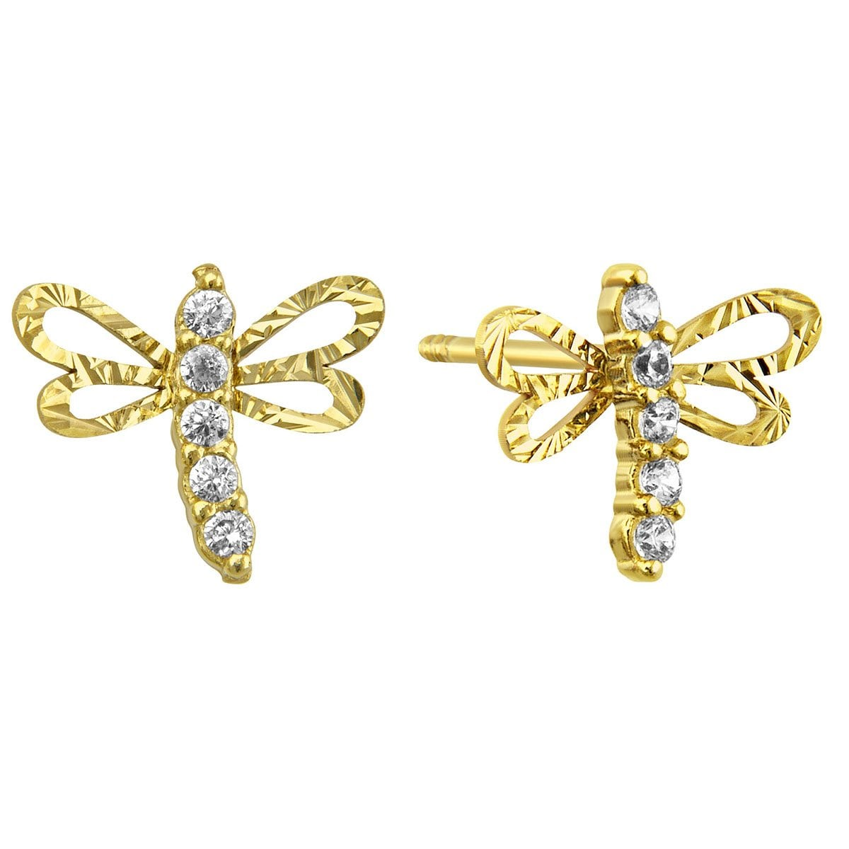 Broqueles de Oro 14K Libélula Diamantada con Circonia Sabelli