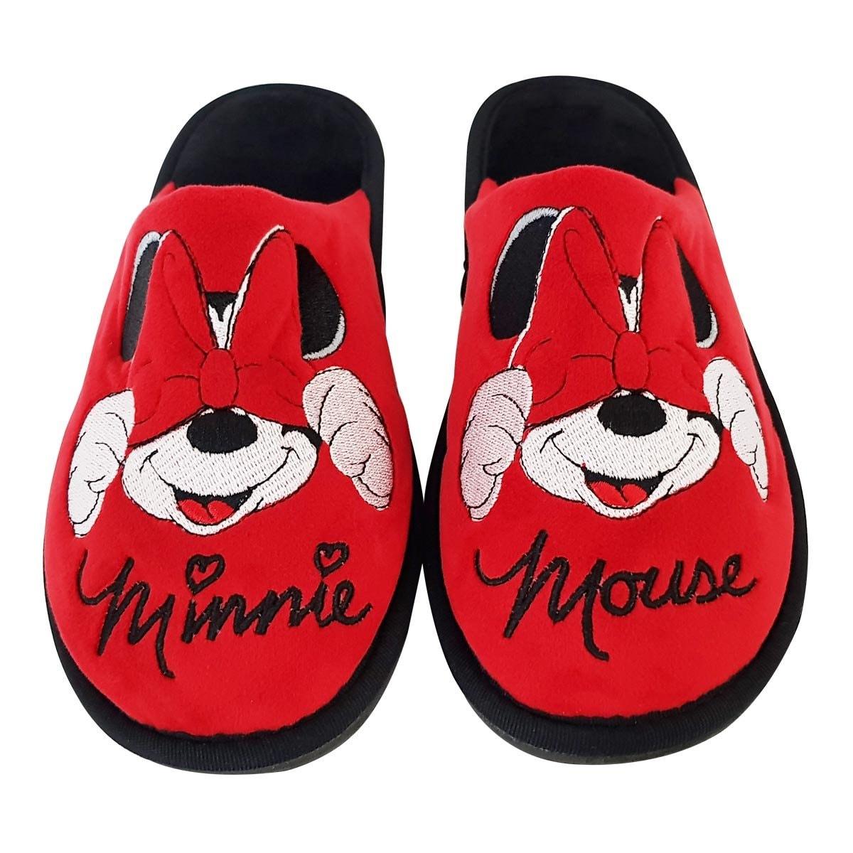 Pantufla Roja con Bordado Minnie Arra