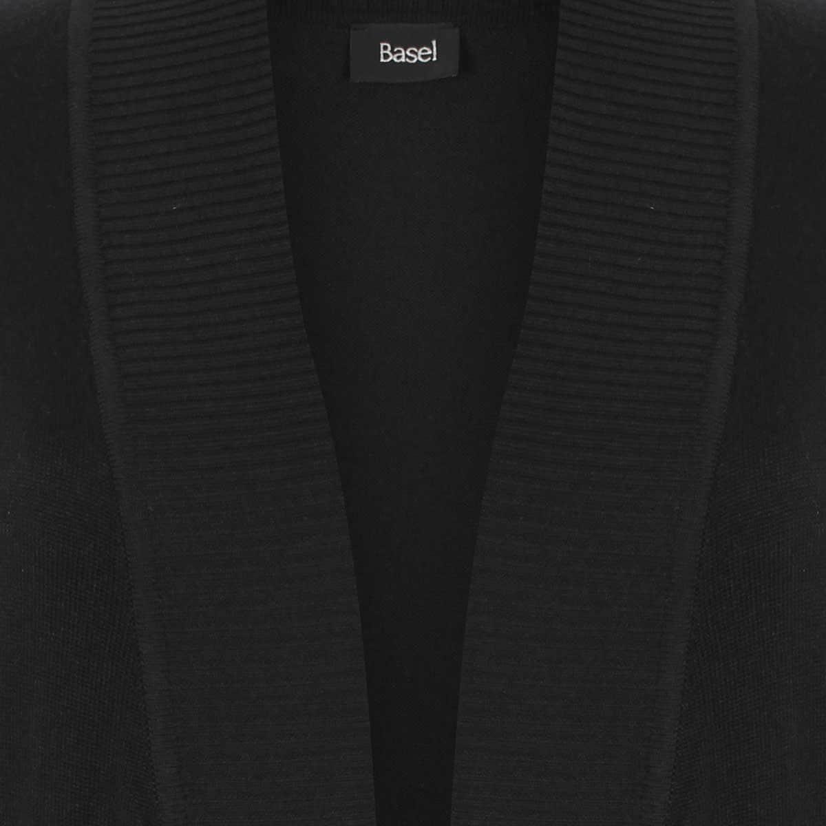 Suéter Negro Abierto Manga Larga con Perlas Liso Basel