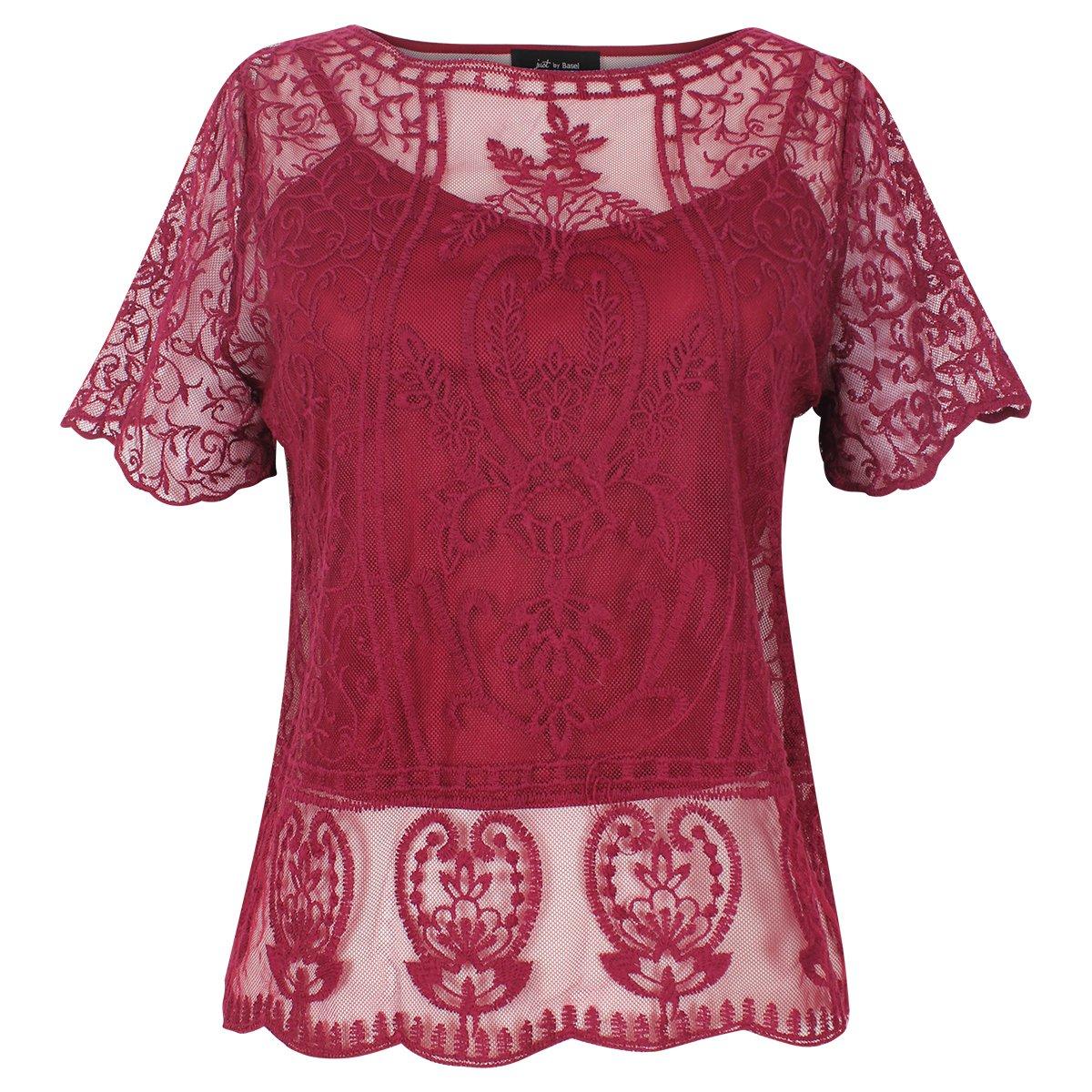 Blusa Escote Redondo Transparencia Tipo Crochet Just By Basel