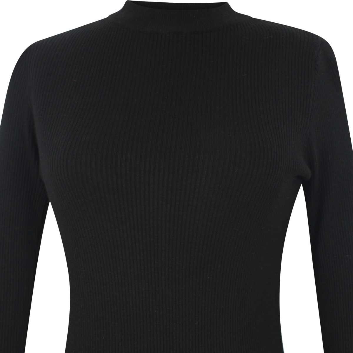 Suéter Negro de Manga Larga Elle