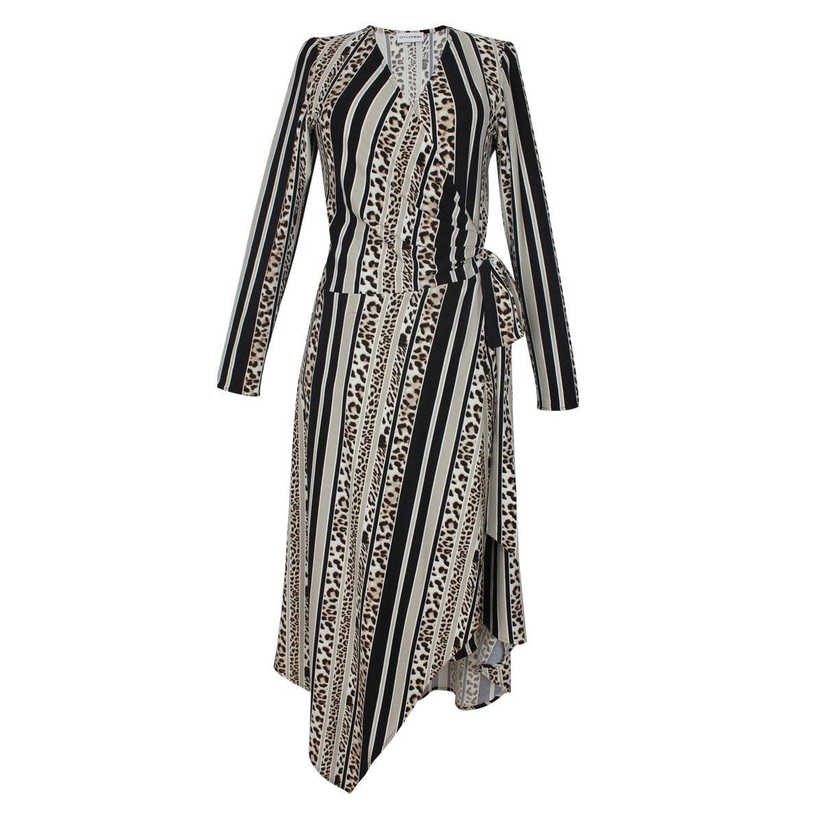 Vestido Cuello V Diseño Estampado City Femme