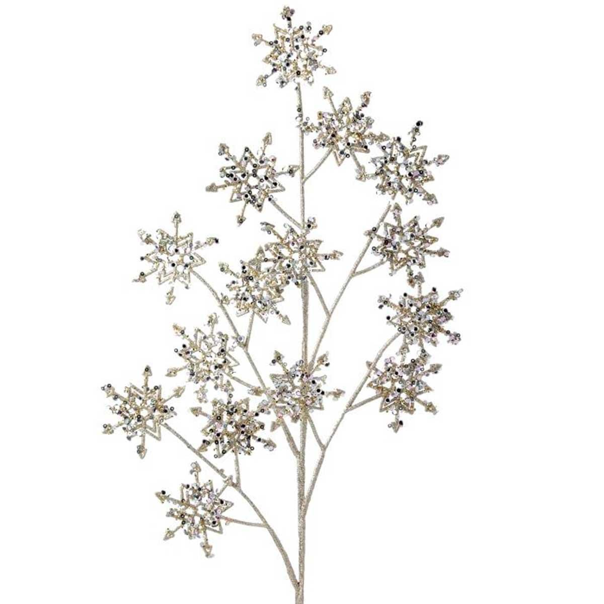 Rama de Copos de Nieve con Diamantina Color Plata 55 Cm.