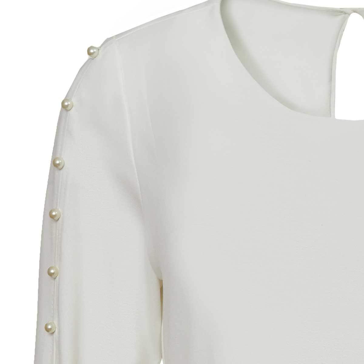 Blusa Blanca con Perlas Ann Miller