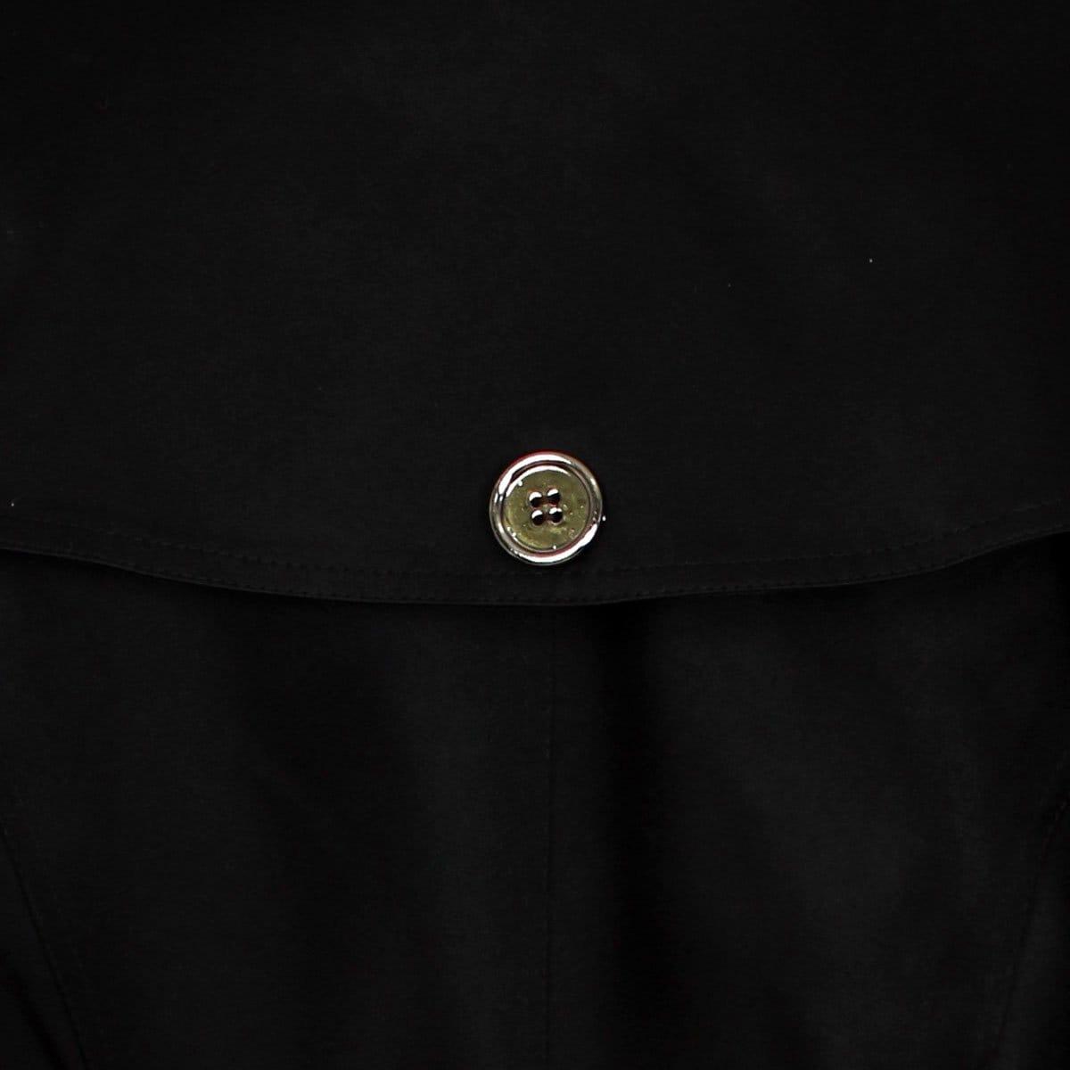 Gabardina Negra Cuello Camisero con Cinturón Liso Basel