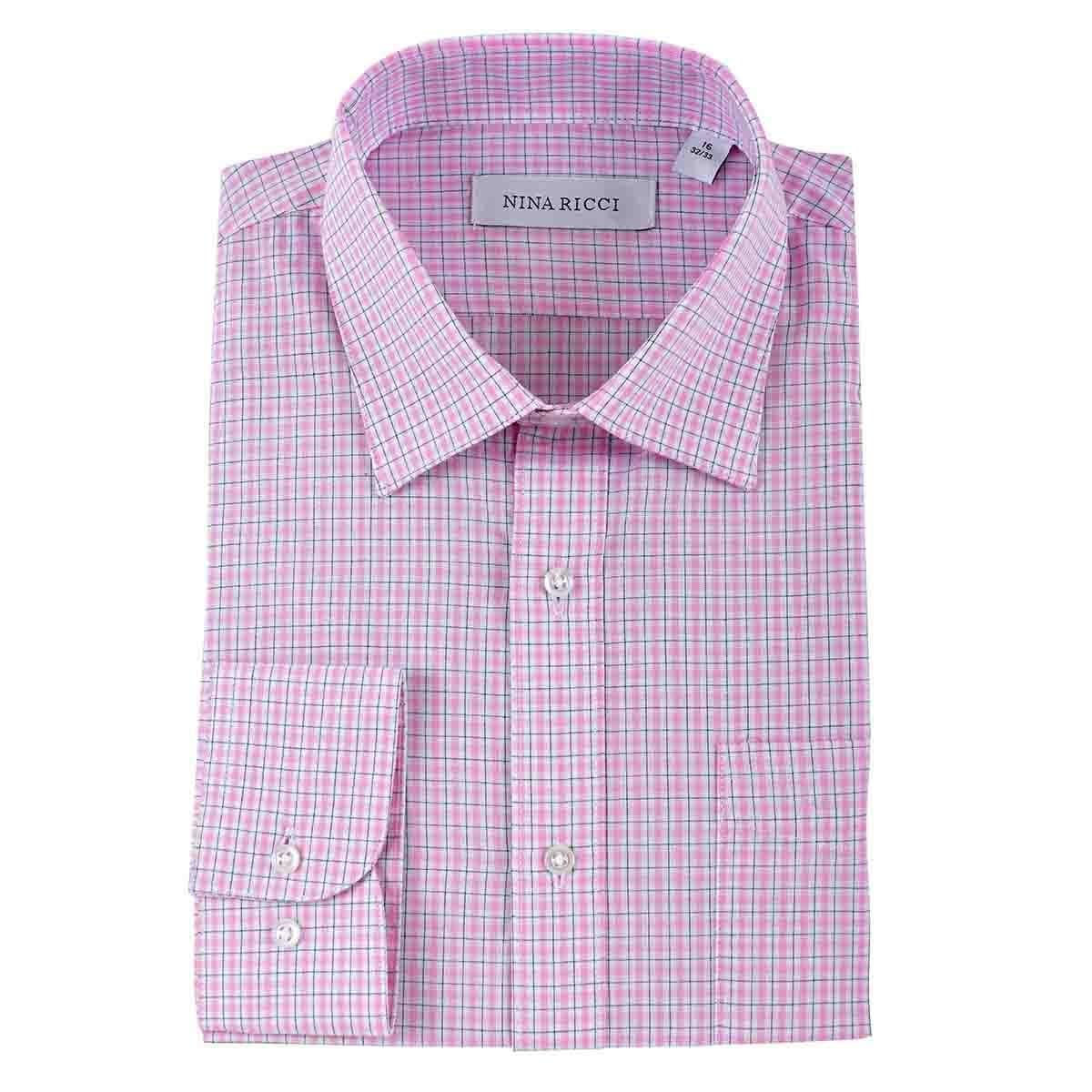 Camisa de Vestir Manga Larga Rosa Combinado Nina Ricci