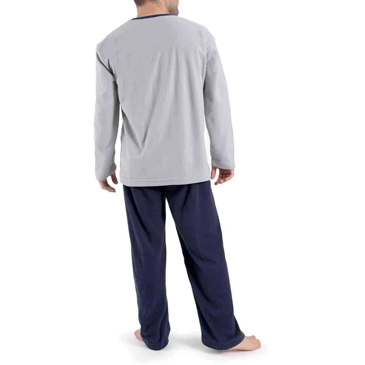 Pijama Manga Larga Gris con Pantalón Largo Micro Polar Star West