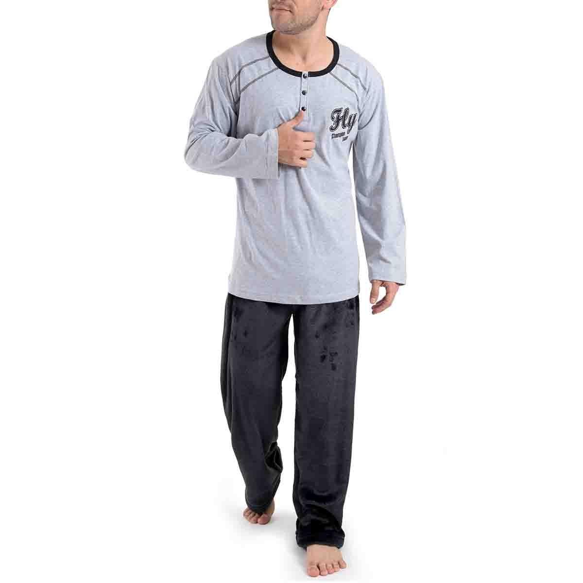Pijama Manga Larga Gris con Pantalón Largo Star West