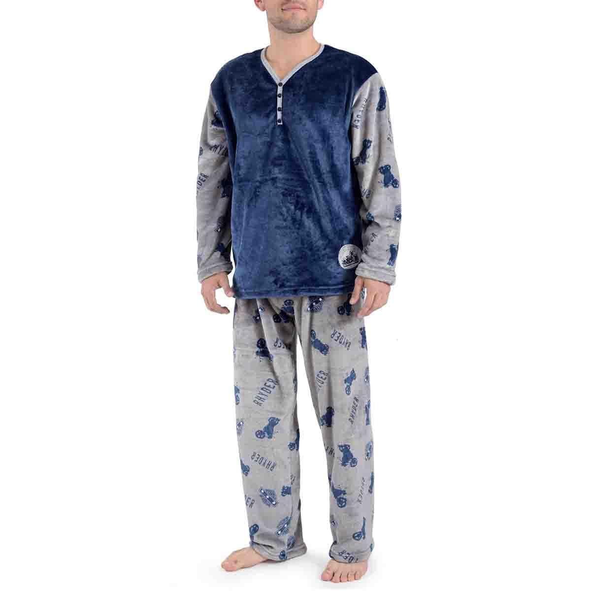 Pijama Manga Larga Azul con Pantalón Largo Flannel Star West