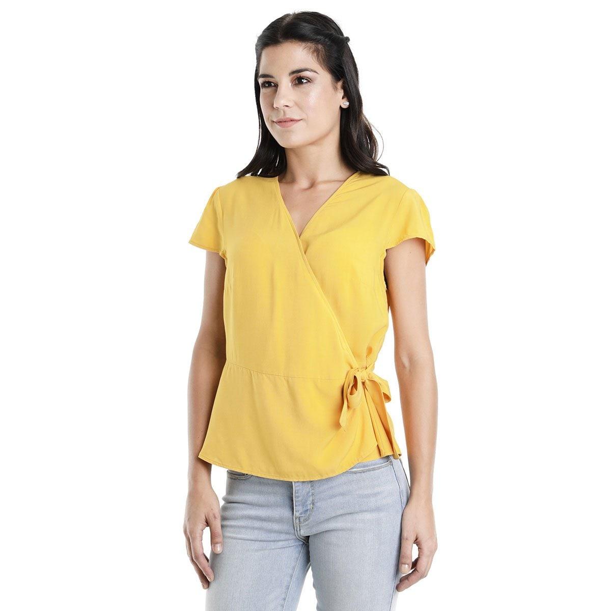 Blusa para Dama  Amarilla con Manga Corta Cuello V Dockers