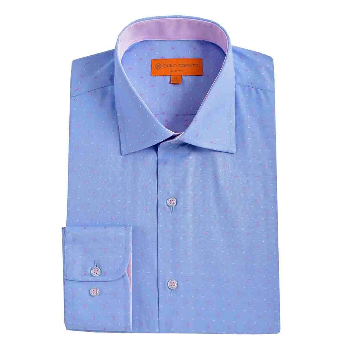 Camisa de Vestir Slim Fit Azul Secf-0719 Carlo Corinto