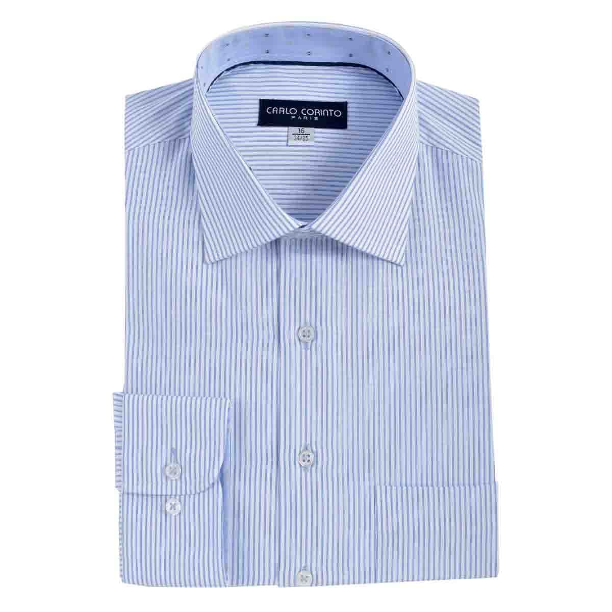 Camisa de Vestir Tradicional Azul Secf 07 Carlo Corinto