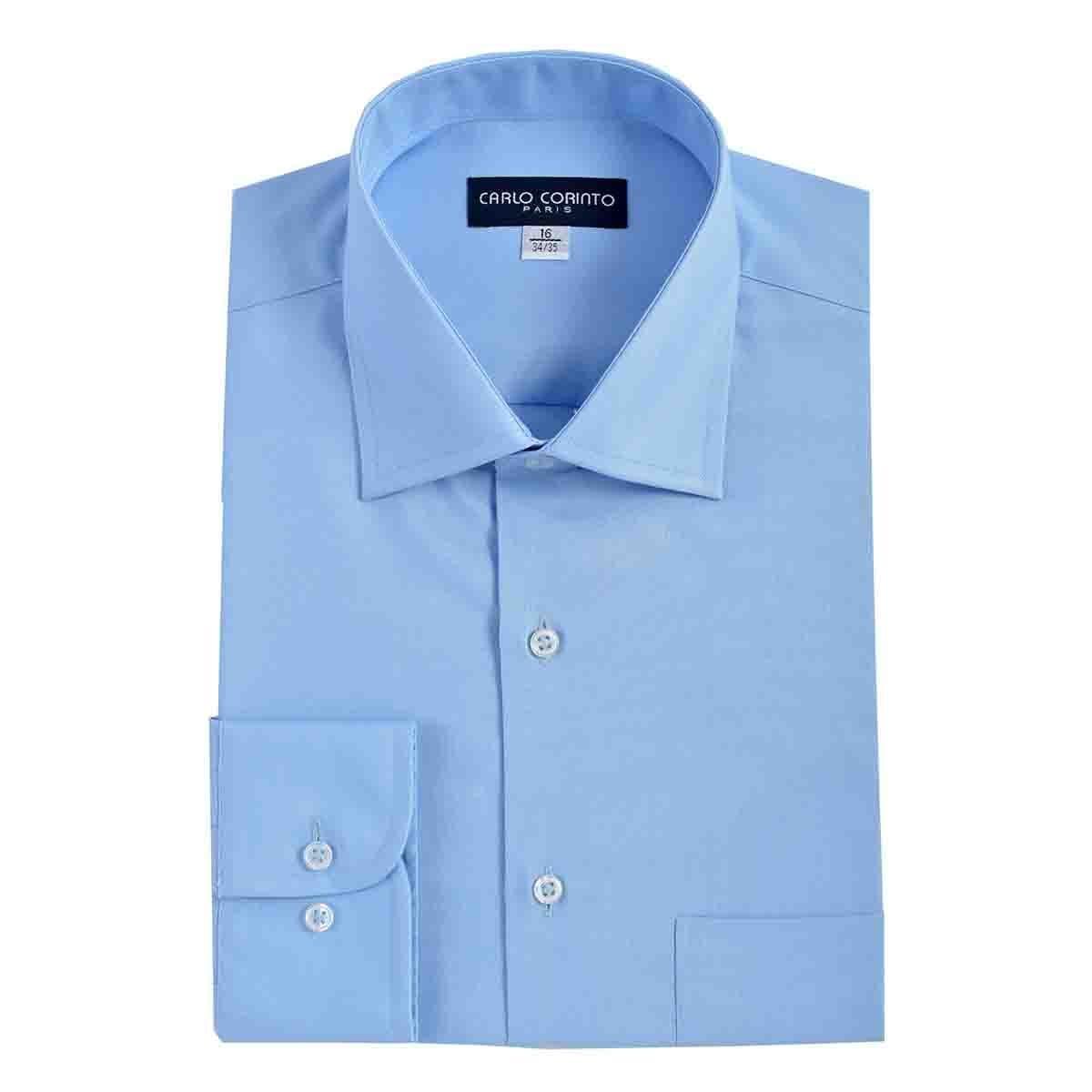 Camisa de Vestir Tradicional Azul Secf 08 Carlo Corinto