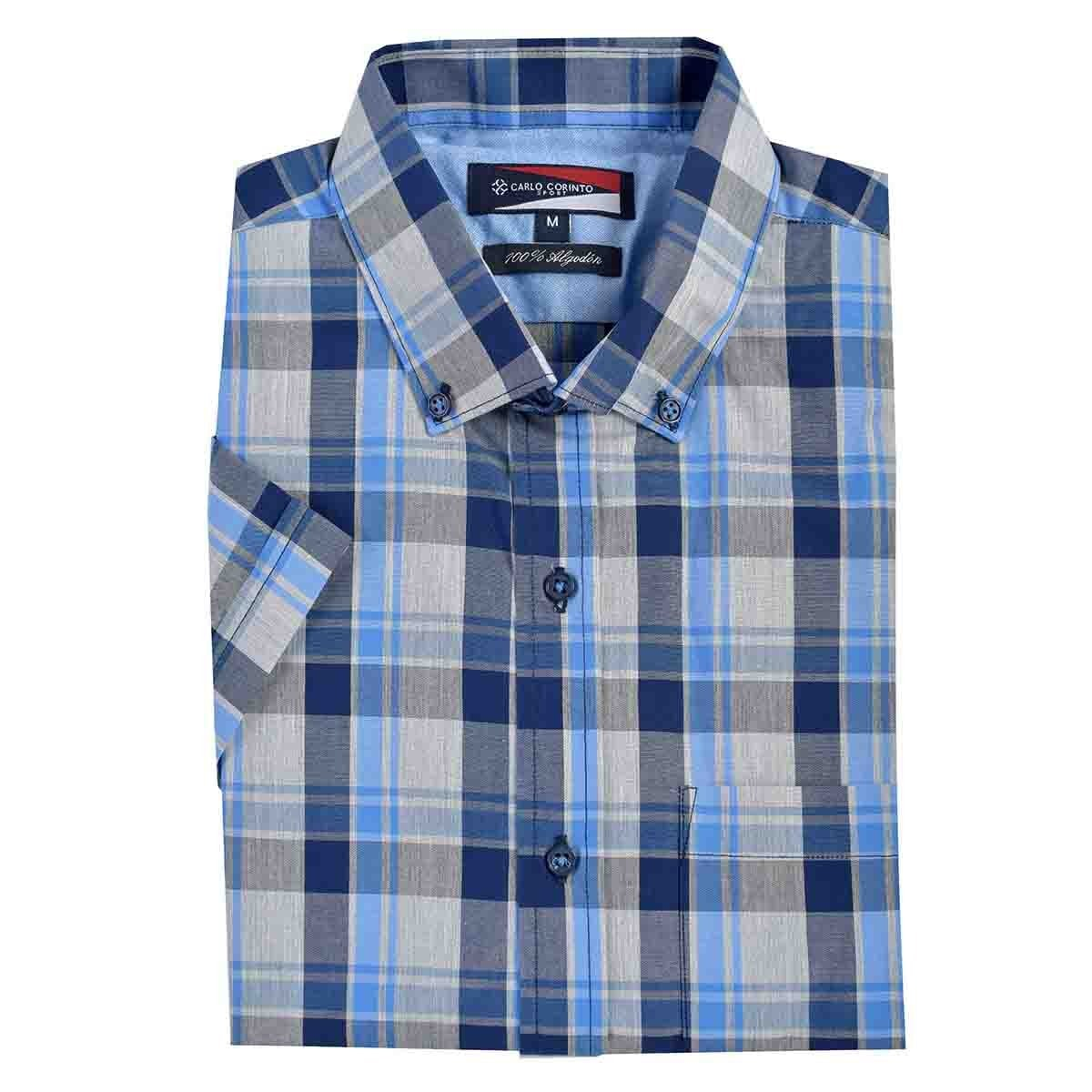 Camisa Casual Manga Corta Regular Figo Blue0 Carlo Corinto