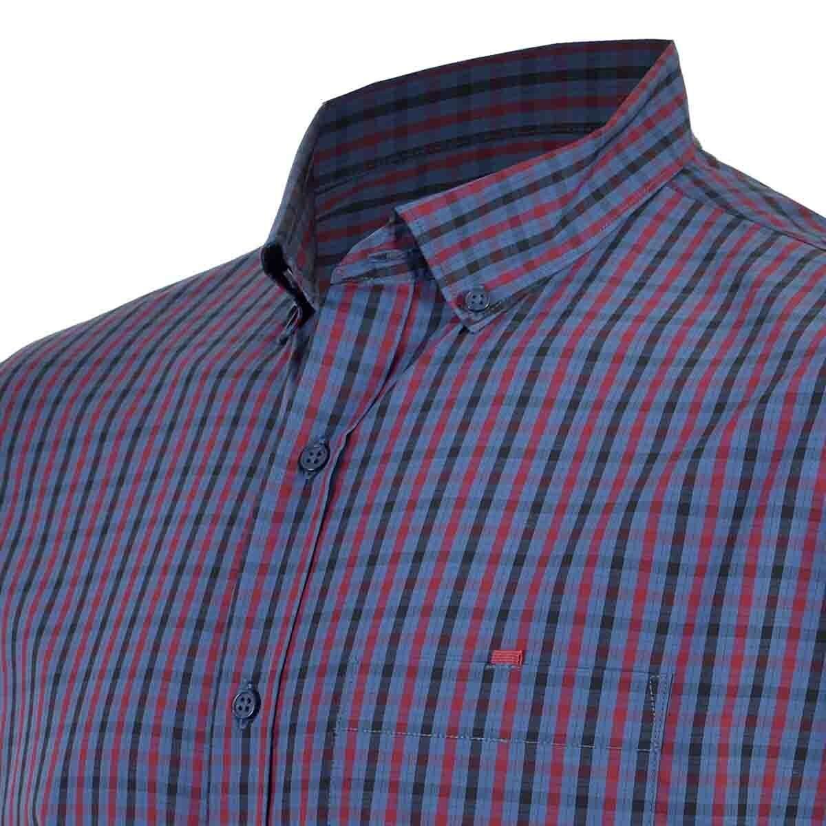 Camisa Casual Manga Corta Regular Ranger Blu Carlo Corinto