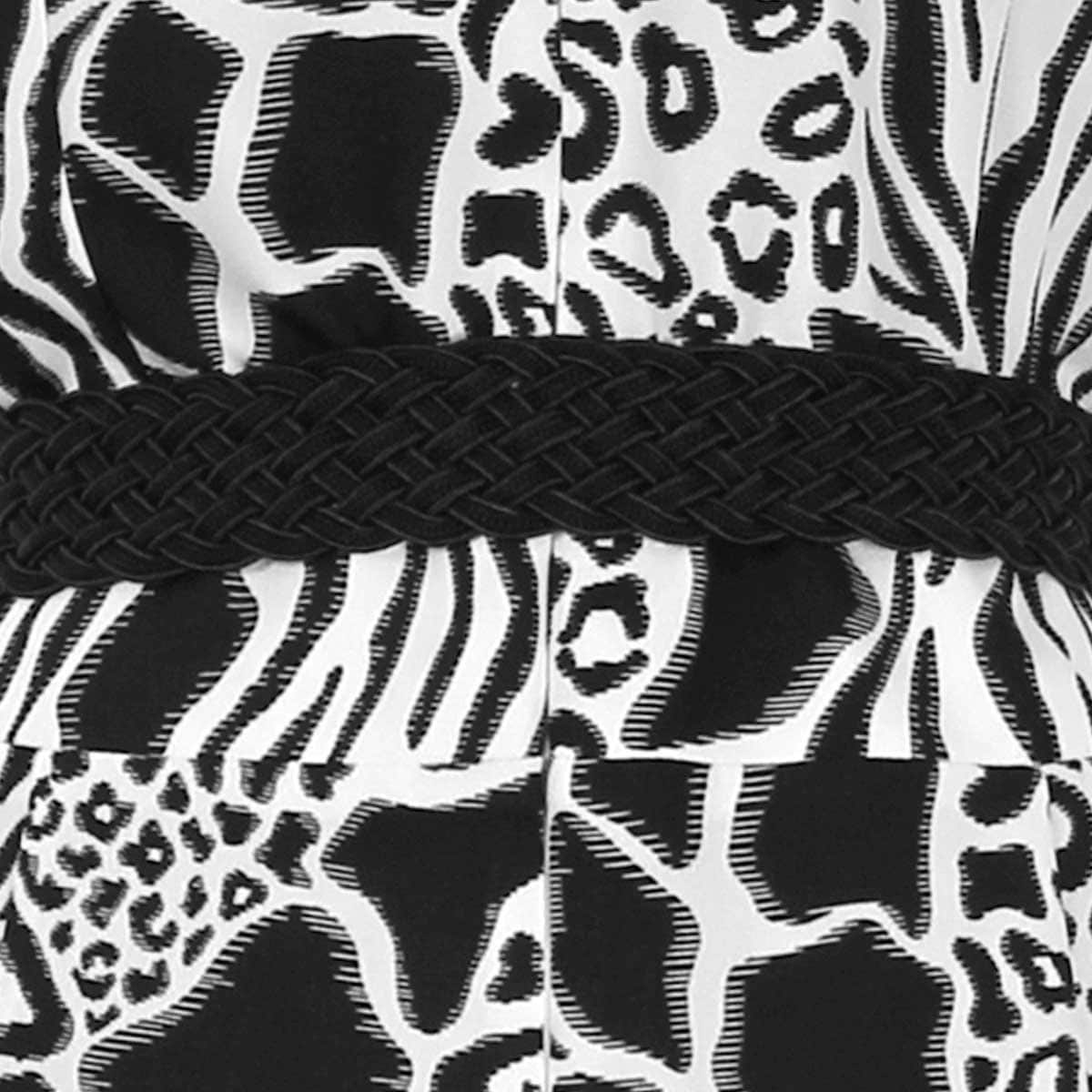 Jumpsuit Estampado Sin Manga Escote V con Cinturón Animal Print Elle