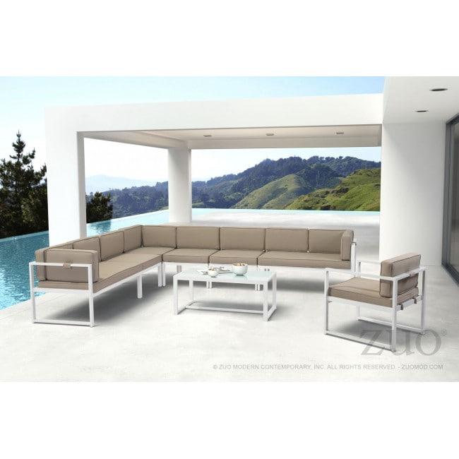 Sofa Para Exterior Lado Izquierdo Modelo Golden Beach - Blanco con Gris - Këssa