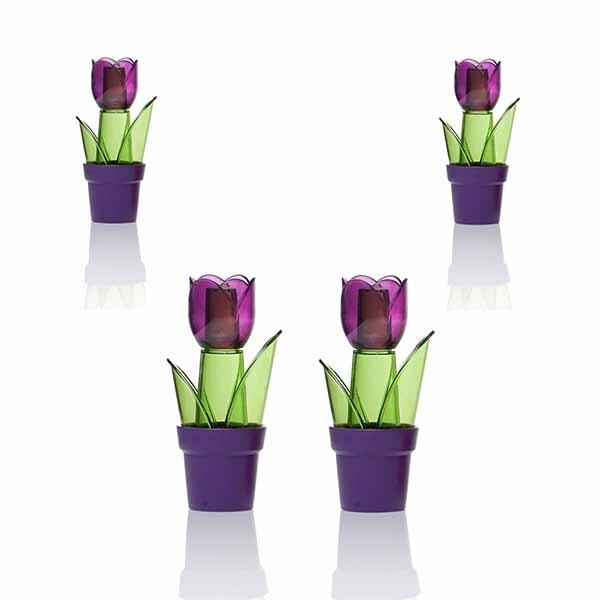 """Juego de 4 especieros HEREVIN """"Tulipa"""" de Acrílico, Morado"""
